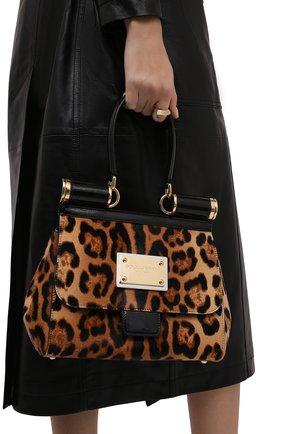 Женская сумка sicily medium DOLCE & GABBANA леопардового цвета, арт. BB7018/AQ291   Фото 2 (Материал: Натуральная кожа; Размер: medium; Ремень/цепочка: На ремешке; Сумки-технические: Сумки top-handle)