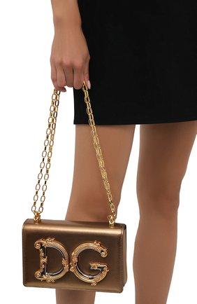 Женский клатч dg girls DOLCE & GABBANA золотого цвета, арт. BB6498/AW121   Фото 2 (Материал: Натуральная кожа; Ремень/цепочка: На ремешке; Размер: small; Женское Кросс-КТ: Клатч-клатчи, Вечерняя сумка)