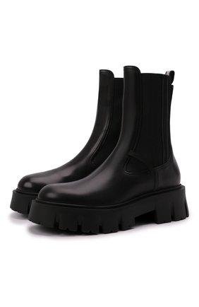 Женские комбинированные ботинки butterfly PREMIATA черного цвета, арт. M6111/BUTTERFLY   Фото 1 (Материал внутренний: Натуральная кожа; Каблук высота: Низкий; Подошва: Платформа; Женское Кросс-КТ: Челси-ботинки)