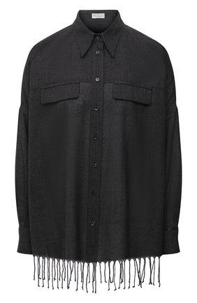 Женская шерстяная рубашка BRUNELLO CUCINELLI темно-серого цвета, арт. MD914NQ706   Фото 1 (Материал внешний: Шерсть; Длина (для топов): Удлиненные; Рукава: Длинные; Женское Кросс-КТ: Рубашка-одежда; Принт: Без принта; Стили: Гранж)