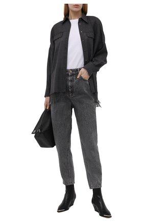 Женская шерстяная рубашка BRUNELLO CUCINELLI темно-серого цвета, арт. MD914NQ706   Фото 2 (Материал внешний: Шерсть; Длина (для топов): Удлиненные; Рукава: Длинные; Женское Кросс-КТ: Рубашка-одежда; Принт: Без принта; Стили: Гранж)