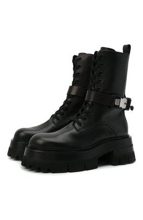 Женские кожаные ботинки VERSACE черного цвета, арт. 1000822/1A00633   Фото 1 (Материал внутренний: Натуральная кожа; Женское Кросс-КТ: Байкеры-ботинки; Подошва: Платформа; Каблук высота: Средний)