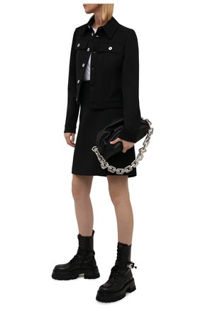 Женские кожаные ботинки VERSACE черного цвета, арт. 1000822/1A00633   Фото 2 (Материал внутренний: Натуральная кожа; Женское Кросс-КТ: Байкеры-ботинки; Подошва: Платформа; Каблук высота: Средний)
