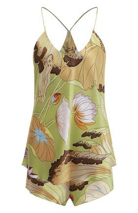 Женская шелковая пижама OLIVIA VON HALLE зеленого цвета, арт. AW2128 | Фото 1 (Длина (для топов): Стандартные; Длина Ж (юбки, платья, шорты): Мини; Материал внешний: Шелк)