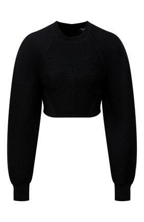 Женский пуловер DOLCE & GABBANA черного цвета, арт. F9J59T/HUMLX | Фото 1 (Рукава: Длинные; Материал подклада: Хлопок; Длина (для топов): Укороченные; Материал внешний: Синтетический материал; Женское Кросс-КТ: Пуловер-одежда; Стили: Романтичный)