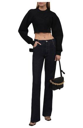 Женский пуловер DOLCE & GABBANA черного цвета, арт. F9J59T/HUMLX | Фото 2 (Рукава: Длинные; Материал подклада: Хлопок; Длина (для топов): Укороченные; Материал внешний: Синтетический материал; Женское Кросс-КТ: Пуловер-одежда; Стили: Романтичный)