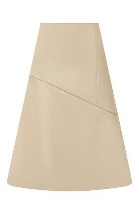 Женская шерстяная юбка JIL SANDER кремвого цвета, арт. JSWT357613-WT201000 | Фото 1 (Материал внешний: Шерсть; Материал подклада: Вискоза; Длина Ж (юбки, платья, шорты): Миди; Женское Кросс-КТ: Юбка-одежда; Стили: Кэжуэл)