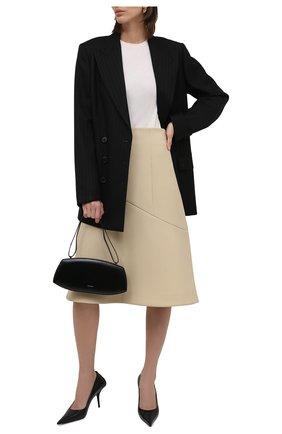 Женская шерстяная юбка JIL SANDER кремвого цвета, арт. JSWT357613-WT201000 | Фото 2 (Материал внешний: Шерсть; Материал подклада: Вискоза; Длина Ж (юбки, платья, шорты): Миди; Женское Кросс-КТ: Юбка-одежда; Стили: Кэжуэл)