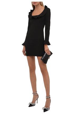Женское платье REDVALENTINO черного цвета, арт. WR0VACA0/5LB   Фото 2 (Материал внешний: Синтетический материал; Рукава: Длинные; Длина Ж (юбки, платья, шорты): Мини; Женское Кросс-КТ: Платье-одежда; Случай: Коктейльный; Стили: Романтичный)