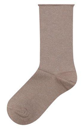 Женские носки из смеси кашемира и шелка BRUNELLO CUCINELLI темно-бежевого цвета, арт. M41945019P | Фото 1 (Материал внешний: Шерсть, Кашемир)