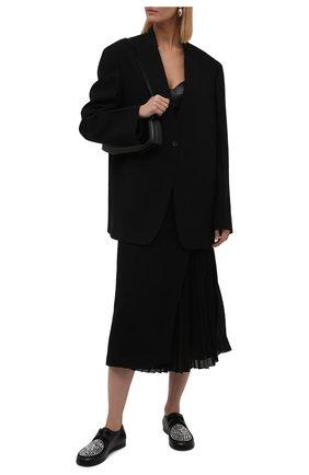 Женская кожаные дерби LOEWE черного цвета, арт. L815284X05   Фото 2 (Материал внутренний: Натуральная кожа; Каблук высота: Низкий; Подошва: Плоская)