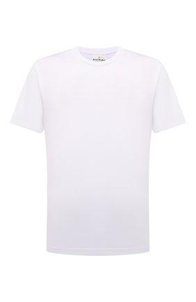 Мужская хлопковая футболка ACNE STUDIOS белого цвета, арт. BL0230   Фото 1 (Материал внешний: Хлопок; Рукава: Короткие; Длина (для топов): Стандартные; Принт: Без принта; Стили: Минимализм)