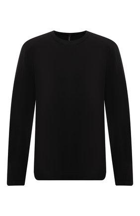 Мужская хлопковый лонгслив TRANSIT черного цвета, арт. CFUTRP1362 | Фото 1 (Материал внешний: Хлопок; Длина (для топов): Стандартные; Рукава: Длинные; Принт: Без принта; Стили: Кэжуэл)