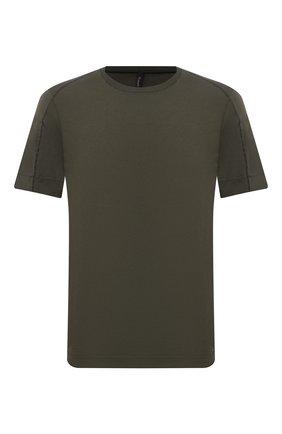 Мужская хлопковая футболка TRANSIT хаки цвета, арт. CFUTRP1364 | Фото 1 (Длина (для топов): Стандартные; Материал внешний: Хлопок; Рукава: Короткие; Принт: Без принта; Стили: Кэжуэл)