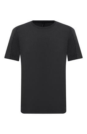 Мужская хлопковая футболка TRANSIT темно-серого цвета, арт. CFUTRP1364 | Фото 1 (Рукава: Короткие; Материал внешний: Хлопок; Длина (для топов): Стандартные; Принт: Без принта; Стили: Кэжуэл)