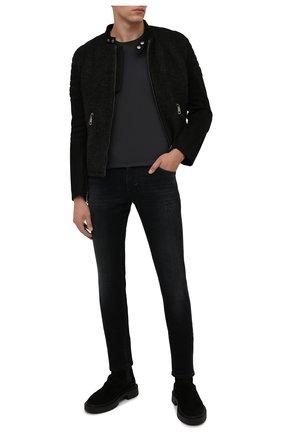 Мужская хлопковая футболка TRANSIT темно-серого цвета, арт. CFUTRP1364 | Фото 2 (Рукава: Короткие; Материал внешний: Хлопок; Длина (для топов): Стандартные; Принт: Без принта; Стили: Кэжуэл)