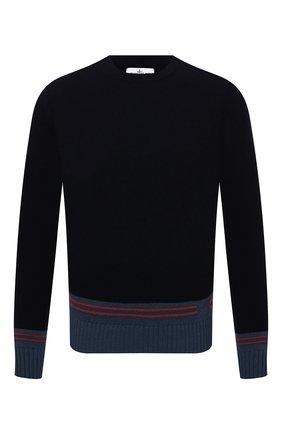Мужской шерстяной свитер STONE ISLAND темно-синего цвета, арт. 7515573B8 | Фото 1 (Материал внешний: Шерсть; Рукава: Длинные; Длина (для топов): Стандартные; Мужское Кросс-КТ: Свитер-одежда; Принт: С принтом; Стили: Кэжуэл)