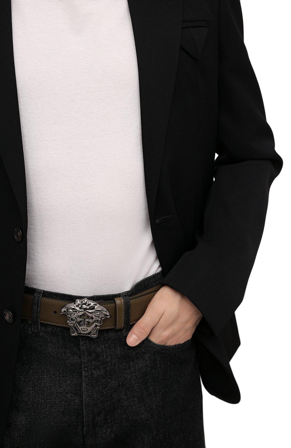 Мужской кожаный ремень VERSACE хаки цвета, арт. 1001340/1A00593   Фото 2 (Случай: Повседневный)