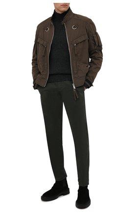 Мужские хлопковые брюки ASPESI хаки цвета, арт. W1 A CP42 A263 ST | Фото 2 (Материал внешний: Хлопок; Длина (брюки, джинсы): Стандартные; Случай: Повседневный; Стили: Милитари; Силуэт М (брюки): Чиносы)