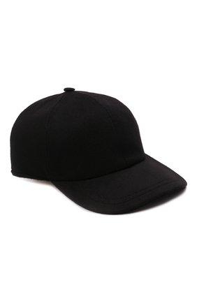 Мужской кашемировая бейсболка  SVEVO черного цвета, арт. T0001SA21/MTW2 | Фото 1 (Материал: Кашемир, Шерсть)