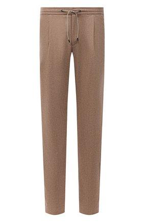 Мужские брюки из шерсти и кашемира BRIONI бежевого цвета, арт. RPMJ0M/01A4S/NEW JAMAICA | Фото 1 (Длина (брюки, джинсы): Стандартные; Материал внешний: Шерсть; Случай: Повседневный; Стили: Кэжуэл)
