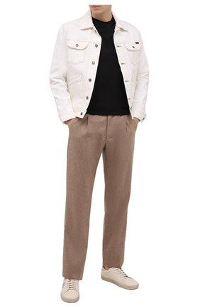 Мужские брюки из шерсти и кашемира BRIONI бежевого цвета, арт. RPMJ0M/01A4S/NEW JAMAICA | Фото 2 (Длина (брюки, джинсы): Стандартные; Материал внешний: Шерсть; Случай: Повседневный; Стили: Кэжуэл)
