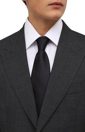 Мужской шелковый галстук BRIONI темно-синего цвета, арт. 062H00/01442 | Фото 2 (Материал: Текстиль, Шелк; Принт: Без принта)