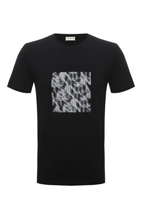 Мужская хлопковая футболка SAINT LAURENT черного цвета, арт. 665271/Y36HP | Фото 1 (Рукава: Короткие; Длина (для топов): Стандартные; Материал внешний: Хлопок; Принт: С принтом; Стили: Кэжуэл)