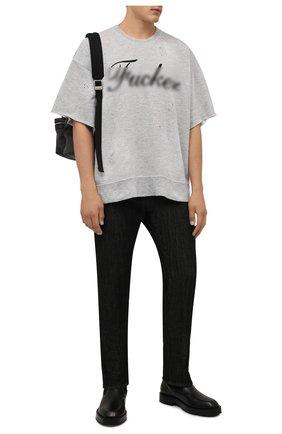 Мужской толстовка из хлопка и вискозы DSQUARED2 серого цвета, арт. S71GU0429/S25061 | Фото 2 (Рукава: Короткие; Длина (для топов): Стандартные; Материал внешний: Хлопок; Принт: С принтом; Стили: Гранж; Мужское Кросс-КТ: свитшот-одежда)