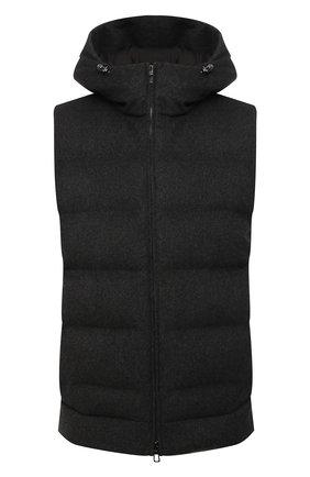 Мужской пуховый жилет LORO PIANA темно-серого цвета, арт. FAL3491 | Фото 1 (Материал утеплителя: Пух и перо, Шерсть; Материал внешний: Кашемир, Шерсть; Длина (верхняя одежда): Короткие; Кросс-КТ: Куртка, Пуховик; Стили: Спорт-шик)