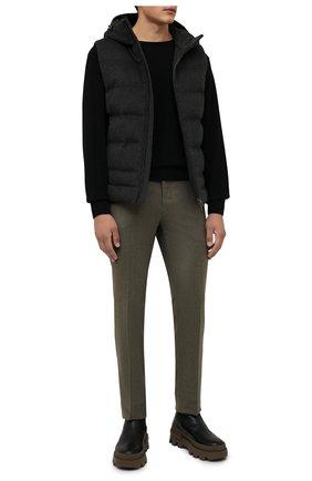 Мужской пуховый жилет LORO PIANA темно-серого цвета, арт. FAL3491 | Фото 2 (Материал утеплителя: Пух и перо, Шерсть; Материал внешний: Кашемир, Шерсть; Длина (верхняя одежда): Короткие; Кросс-КТ: Куртка, Пуховик; Стили: Спорт-шик)