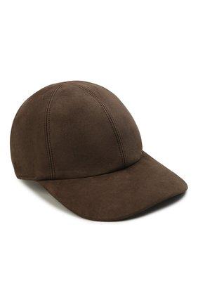 Мужской замшевая бейсболка LORO PIANA коричневого цвета, арт. FAL3379 | Фото 1 (Материал: Замша)