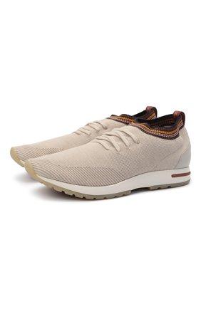 Мужские текстильные кроссовки 360 lp flexy walk LORO PIANA светло-бежевого цвета, арт. FAL8892 | Фото 1 (Материал внутренний: Натуральная кожа, Текстиль; Подошва: Массивная; Материал внешний: Текстиль; Стили: Спорт)