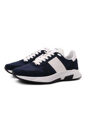 Мужские комбинированные кроссовки TOM FORD темно-синего цвета, арт. J1262T-LCL200 | Фото 1 (Материал внутренний: Текстиль; Материал внешний: Текстиль; Стили: Классический; Подошва: Массивная)