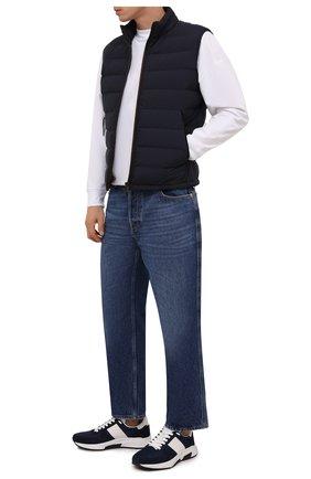 Мужские комбинированные кроссовки TOM FORD темно-синего цвета, арт. J1262T-LCL200 | Фото 2 (Материал внутренний: Текстиль; Материал внешний: Текстиль; Стили: Классический; Подошва: Массивная)