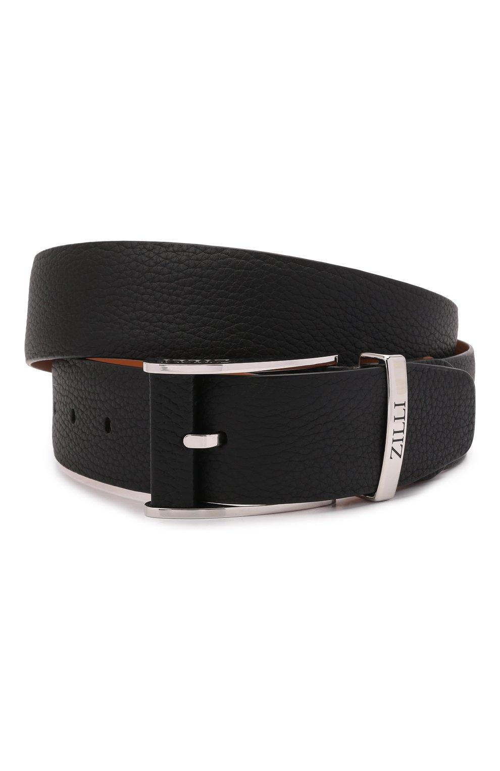 Мужской кожаный ремень ZILLI черного цвета, арт. MJL-CLAQE-01805/0076 | Фото 1 (Случай: Формальный)