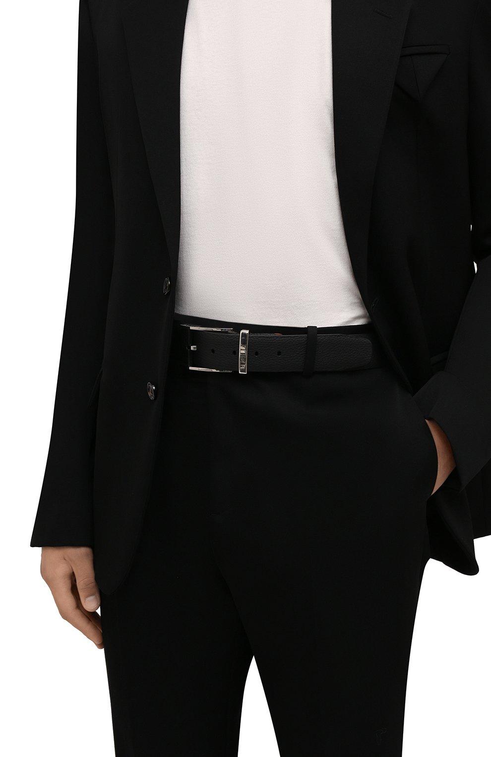 Мужской кожаный ремень ZILLI черного цвета, арт. MJL-CLAQE-01805/0076 | Фото 2 (Случай: Формальный)