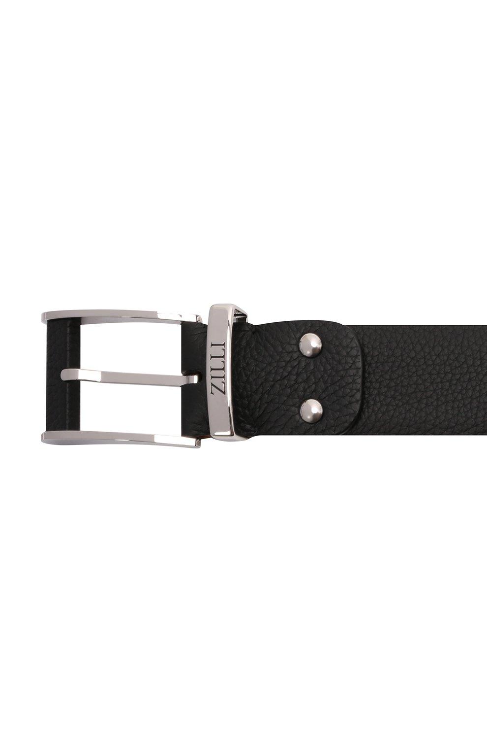 Мужской кожаный ремень ZILLI черного цвета, арт. MJL-CLAQE-01805/0076 | Фото 4 (Случай: Формальный)
