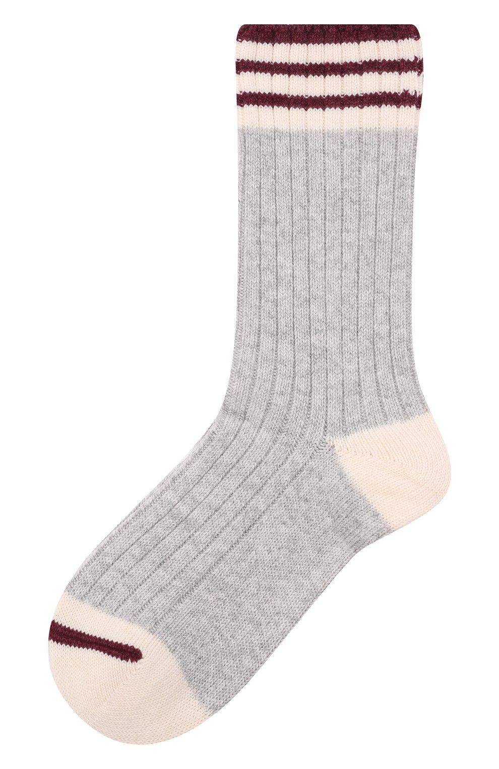 Мужские кашемировые носки BRUNELLO CUCINELLI светло-серого цвета, арт. MCS93811   Фото 1 (Материал внешний: Шерсть, Кашемир; Кросс-КТ: бельё)