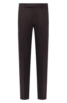 Мужские брюки из шерсти и хлопка ERMENEGILDO ZEGNA коричневого цвета, арт. 253F05/75TB12 | Фото 1 (Материал внешний: Хлопок, Шерсть; Длина (брюки, джинсы): Стандартные; Материал подклада: Вискоза; Случай: Повседневный; Стили: Кэжуэл)