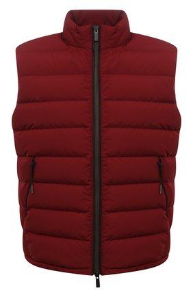 Мужской пуховый жилет ERMENEGILDO ZEGNA красного цвета, арт. UYT35/Y121B | Фото 1 (Материал подклада: Синтетический материал; Материал утеплителя: Пух и перо; Материал внешний: Синтетический материал; Кросс-КТ: Куртка, Пуховик; Стили: Спорт-шик; Длина (верхняя одежда): Короткие)