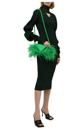 Женское шелковое платье BOTTEGA VENETA темно-зеленого цвета, арт. 664686/V0ZF0   Фото 2 (Материал подклада: Вискоза; Материал внешний: Шелк; Стили: Гламурный; Кросс-КТ: Трикотаж; Случай: Повседневный; Рукава: Длинные; Длина Ж (юбки, платья, шорты): До колена, Миди)