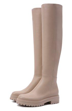 Женские кожаные сапоги quinn GIANVITO ROSSI светло-бежевого цвета, арт. G80355.20G0M.CLNM0US   Фото 1 (Каблук высота: Низкий; Подошва: Платформа; Материал внутренний: Натуральная кожа; Высота голенища: Высокие; Каблук тип: Устойчивый)