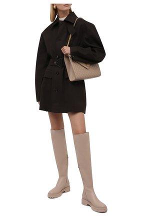Женские кожаные сапоги quinn GIANVITO ROSSI светло-бежевого цвета, арт. G80355.20G0M.CLNM0US   Фото 2 (Каблук высота: Низкий; Подошва: Платформа; Материал внутренний: Натуральная кожа; Высота голенища: Высокие; Каблук тип: Устойчивый)