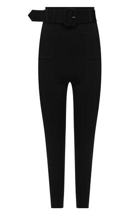 Женские брюки SELF-PORTRAIT черного цвета, арт. AW21-109B | Фото 1 (Материал внешний: Синтетический материал, Вискоза; Длина (брюки, джинсы): Стандартные; Стили: Гламурный; Силуэт Ж (брюки и джинсы): Узкие)