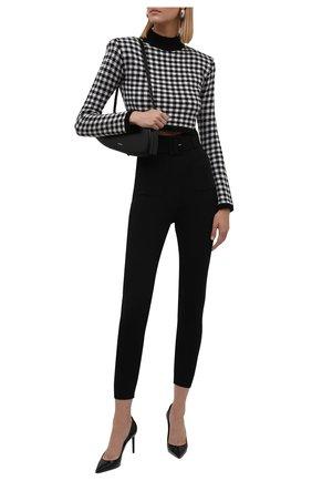 Женские брюки SELF-PORTRAIT черного цвета, арт. AW21-109B | Фото 2 (Материал внешний: Синтетический материал, Вискоза; Длина (брюки, джинсы): Стандартные; Стили: Гламурный; Силуэт Ж (брюки и джинсы): Узкие)