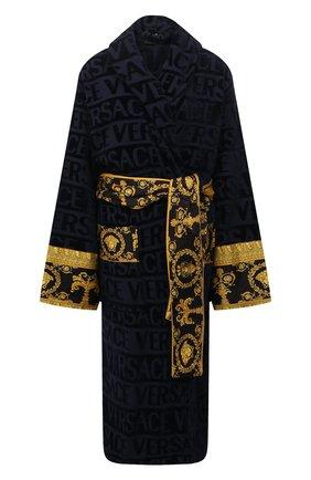 Женский хлопковый халат VERSACE темно-синего цвета, арт. ZACJ00008/ZC0SP052   Фото 1 (Материал внешний: Хлопок; Рукава: Длинные; Длина Ж (юбки, платья, шорты): Миди)