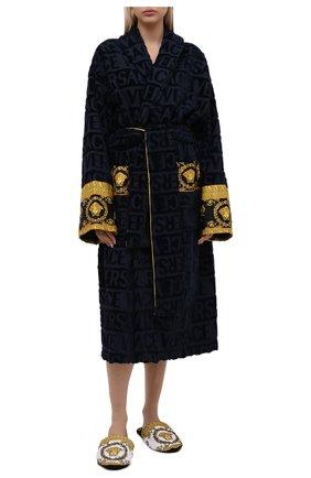 Женский хлопковый халат VERSACE темно-синего цвета, арт. ZACJ00008/ZC0SP052   Фото 2 (Материал внешний: Хлопок; Рукава: Длинные; Длина Ж (юбки, платья, шорты): Миди)