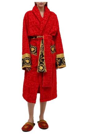 Женский хлопковый халат VERSACE красного цвета, арт. ZACJ00008/ZC0SP052 | Фото 2 (Материал внешний: Хлопок; Рукава: Длинные; Длина Ж (юбки, платья, шорты): Миди)