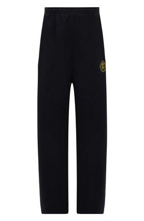 Женские хлопковые брюки BALENCIAGA синего цвета, арт. 674594/TLV60 | Фото 1 (Длина (брюки, джинсы): Стандартные; Материал внешний: Хлопок; Стили: Спорт-шик; Женское Кросс-КТ: Брюки-одежда)